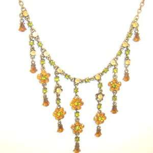 Beautiful Fashion Nickle free Yellow Crystal Rose Necklace Jewelry