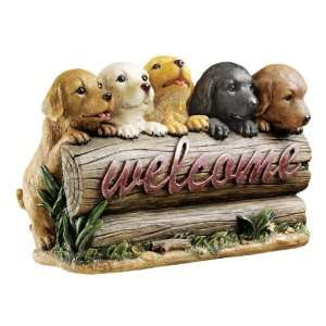 14w Cute Puppy Dogs Welcome Sculpture Statue Figurine