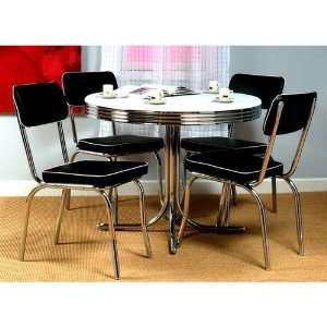 TMS Retro 5 Piece Dining Set with Black Padded Vinyl Chairs
