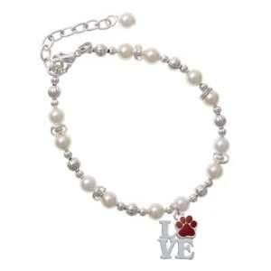 Silver Love with Maroon Paw Czech Pearl Beaded Charm Bracelet [Jewelry