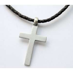 20 inch Mens Black Leather Necklace with Cross Pendant Jewelry
