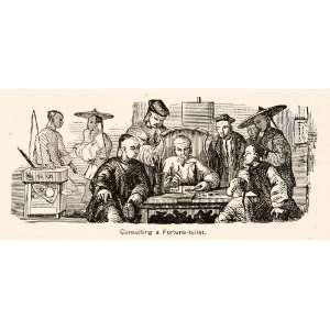 1898 Print Men Fortune Telling China Mythology Costume Fashion
