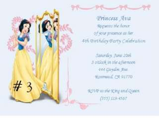 10 CUSTOM PRINCESS SNOW WHITE INVITATIONS OR THANK YOUS