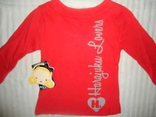 NWT GIRLS HARAJUKU LOVERS RED LOVE ANGEL GLAM SHIRT 14