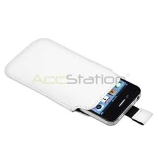 White+Hot Pink Pull Leather Pouch Cover Case For iPhone 4 G 4S USA