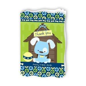 Boy Puppy Dog   Personalized Baby Thank You Cards With
