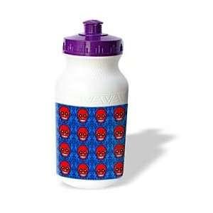 Skull Print Red Blue   Water Bottles