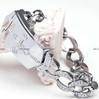 New Crystal Cross Silver Color Bracelet Women Lady Dress Quartz Wrist