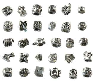 Bulk Lot of 30 Tibetan silver Bead Fit Charm bracelet