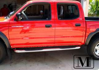 01 04 Toyota Tacoma Double Cab Chrome Side Step Stainless Nerf Bars