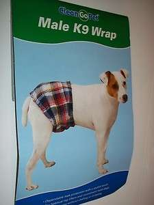 CLEAN GO PET MALE K9 WRAP DOGS EXTRA SMALL PLAID