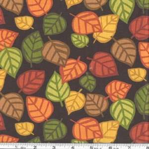 44 Wide Autumn Bounty Falling Leaves Black Fabric By The