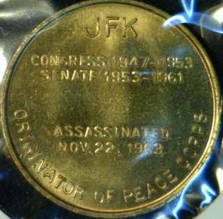 1963 John F Kennedy JFK MINT Commemorative Bronze Medal   Token