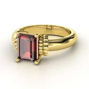 Beluga Ring, Emerald Cut Red Garnet 14K Yellow Gold Ring