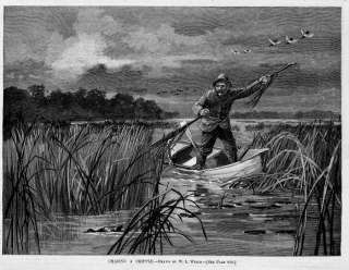 ANTIQUE DUCK HUNTING CHASING A CRIPPLE DUCK BOAT HUNTER