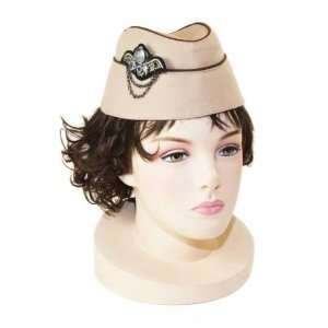 Airline Stewardess Military Style Fashion Hat Taupe