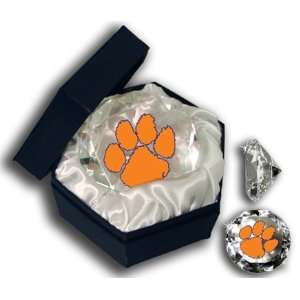 Clemson College Logo On A 4 Glass Diamond. Jewelry Box