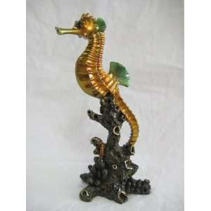 Tropical Ocean Coral Reef Seahorse Figurine Statue Home & Kitchen