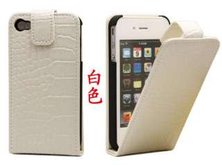 1xCroco Skin Leather cell phone cover Case For apple iPhone 4 4S