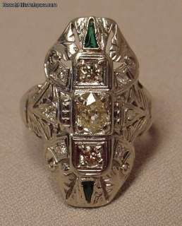 Antique Art Deco 14k WG Oval Cut Yellow Diamond Ring