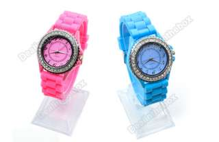 Classic Men Lady Gel Silicone Crystal Jelly Watch Gifts