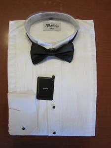 French cuffs Men Tuxedo Shirt white with Black Bow Tie