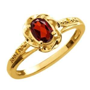 57 Ct Oval Red Garnet Yellow Citrine 10K Yellow Gold Ring Jewelry