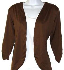 NEW Antthony Matte Jersey 3/4 Sleeve Shrug BROWN