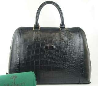 AUTHENTIC MULBERRY BLACK CROCODILE EMBOSSED LEATHER LARGE HAND BAG
