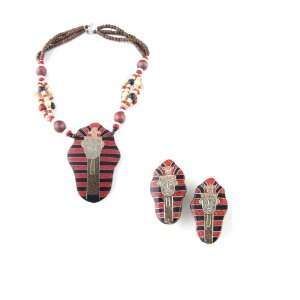 Jewelry Set   Necklace & Earrings   Egyptian Pharaoh   Red Jewelry