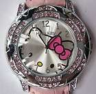 Lovely Cute Hello Kitty Quartz Wrist crystal Stone Watch Pink