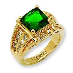Swarovski Crystal Green Princess cut Ring/Gold Plated Mixed Metal