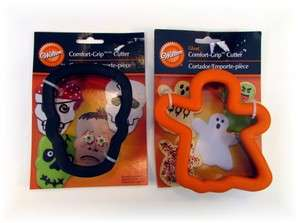 HALLOWEEN GHOST AND SKULL COMFORT GRIP COOKIE CUTTER LOT OF 2 NEW