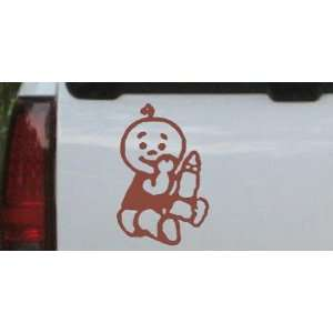 Brown 22in X 14.8in    Baby With Bottle Car Window Wall Laptop Decal