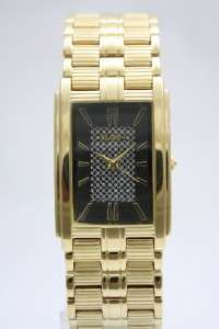 New Elgin Men Gold Bracelet Crystals Dress Watch 27mm x 36mm FG344