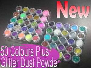 50 Colour Plus Glitter Dust Powder Nail Art Deluxe Set