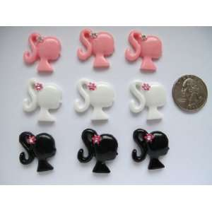 9 Resin Cabochon Flat Back Girl mix Cellphones 24mm*21mm