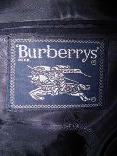Dark Blue BURBERRY BLAZER w/ Brass Logo Buttons Sz 42 2 Button Jacket