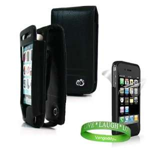 Apple iPhone 4 leather Case Accessories Kit Black Melrose Leather