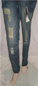 NEW JUNIORS XOXO BLUE DENIM SKINNY JEANS 28 SIZE 1/2