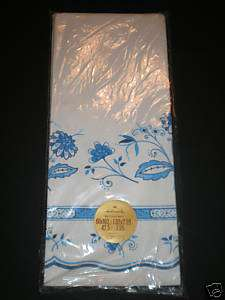Hallmark Blue & White Party Table Cover Oblong 62x102