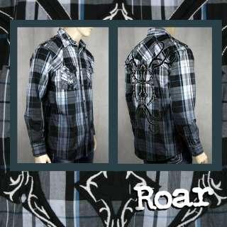 ROAR Mens LAMBERT blue plaid Embroidered button shirt