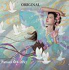 Oriental Pink Lady w Umbrella Cross Stitch Pattern items in The Beaded