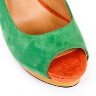 Multi Color Suede Peep Toe Sky High Platform Slender Heel Pump Sandal