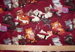 Movie Theater Kitty Cats Scared Kittens at Movies Cotton Quilt Fabric