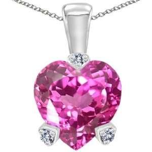 Gold Lab Created Heart Shape Pink Tourmaline and Diamond Pendant