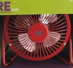 PERSONAL ELECTRIC FAN ADJUSTABLE TILT HEAD RED ALL METAL
