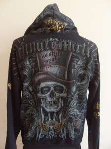 Minute Mirth Skull High Hat Tattoo Hood Jacket Black M
