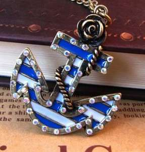 Sailor Style Anchor inlay Crystal Flower Necklace