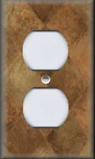 Switch Plate Cover   Wall Decor   Tuscan Tones Block   Rustic Brown